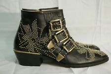 Authentic Chloe Gold Studded Susanna Ankle Boots EU 36 / US 6