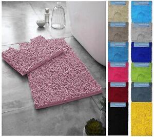 Luxuries 2pcs LOOP Designer Bath Mat Sets Non Slip Water Absorbent Bathroom Rugs