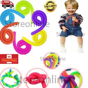 6x Stretchy Monkey Noodle Fidget String Neon Sensory Toys Kids Stress Relief UK