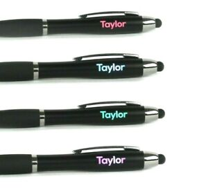 PERSONALISED - LIGHT UP  Ballpoint Pen with Touch Screen Stylus any name or text