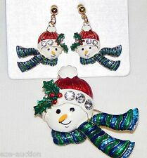 Earring Set - Comes in Gift Box 3D Cute Snowman Christmas pendant / Brooch &