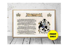 A4 Surname Family Name Meaning History Origin Print Coat of Arms B Personalised