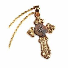 NEW American Coin Treasures Gold Cross with Widow's Mite Coin Pendant Only 5642