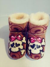 Penelope Wildberry Hand Painted Sheepskin Baby Boots size medium (6-12months)