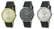 Omax Men's Leather Strap Wrist Watch, Analog Display, Japanese Quartz Movement