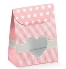 10 Sacchetti bomboniera porta confetti cuore per bomboniera made in italy rosa