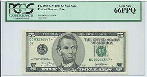 $5 2003 Star *  Chicago 320000 printed PCGS 66PPQ very short run #03236547* FRN