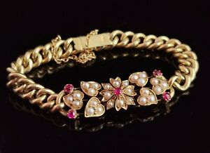 Antique Edwardian 15ct gold curb bracelet, Ruby and Pearl, flotal