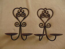 Cast Iron Candle Holder Wall Mounted Sconce Decor Set of 2 Heart design