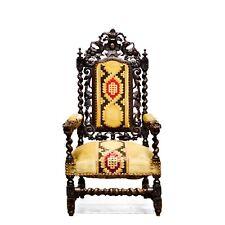 Antique Carved Oak French Renaissance Hunt Arm Chair