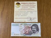 REPUBBLICA ITALIANA BANCONOTA LIRE 100000 CARAVAGGIO II TIPO C 1995 SUP/FDS