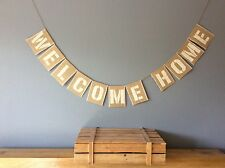 ❤️ WELCOME HOME Hessian Bunting Banner Vintage Rustic Wedding❤️
