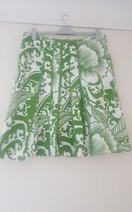 PUNT ROMA Green White Skirt Size 20 | COTTON |  Platted | Lined NEW VGC