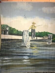 HUGE Nautical Oil Painting on Canvas Signed Original Art boats & fishing scene