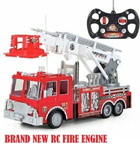 RC High Speed Remote Control Car Red Fire Truck Engine Lights Toy for Boy KId US