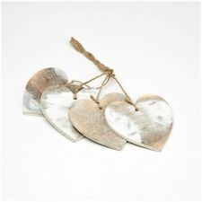 8cm White Frost Wooden Heart Hanger x 4 Rustic Natural Decoration