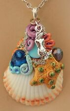 Mermaid Shell Pendant Necklace Jewelry Handmade NEW Hand Sculpted NEW Clay