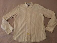 Mens Hollister Dress Shirt 2XL XXL Yellow Stripes Cotton Long Button