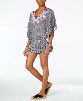 NWT Bar III Feather Daze Printed Caftan Tunic Cover-up Black/White 7MBJE31M