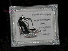 Jimmy Shoe Sparkle Glitter picture, Silver Shabby Chic Framed!