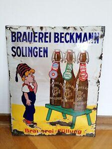 Altes original Emailschild Brauerei Beckmann Solingen, Export Kraft Bier Weizen