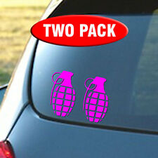 Grenade TWO PACK - Car Vinyl Decal Sticker - Your choice of colors.