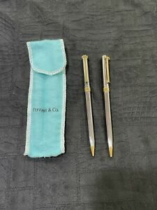 Tiffany & Co Two Tone T Clip Ballpoint Pen & Pencil Set