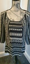 Monsoon Ladies Black & White Patterned Loose Fit Blouse Size 10/12 New