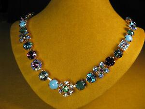 MARIANA NECKLACE SWAROVSKI CRYSTALS RG PL MOSAIC PURPLE GREEN PINK BLUE Flower
