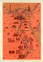 Tourist map of Egypt Nile Valley 1937 historic sites pictorial map POSTER 11488