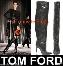 NEW TOM FORD BLACK ANACONDA OVER THE KNEE BOOTS 38 - 8