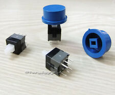 10pcs 8.5 x 8.5mm Latching Tactile Tact Push Button Switch DIP With Cap s776