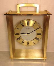 Seiko Brass Look Cased Quartz Clock Runs with Sweeping Seconds Hand