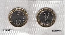 SWITZERLAND BIMETALLIC 10 FRANCS COIN 2007 IBEX UNC