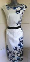 LK BENNETT Madina 100%silk blue and cream sleeveless midi shift dress lined 16