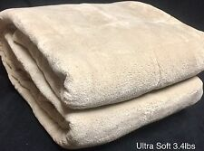 Ultra Soft Fluffy Plush Queen Size Beige Cozy Blanket Bedspread 3.3lbs  Get Gift