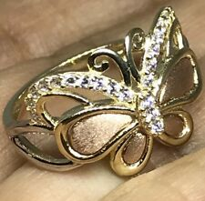 GOLD BuTtErFlY Ring 14k yellow Rose White Tri Simulated Diamond 7 5 6 8 9  3g