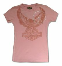 Harley Davidson & Trunk Studded Eagle USA Girls Juniors Pink T Shirt New Small