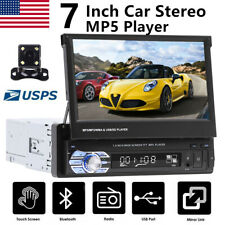1Din Car Radio Stereo Player Touch Screen Bluetooth SD AUX MP5 USB+Backup Camera