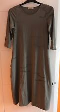 MAME B Ladies Long Dress - Size S - Khaki - 3/4 Sleeve - Dragonfly Print