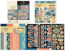 "Graphic 45 Sun Kissed 12"" & 8"" Paper Pads Chipboard Journal/Ephemera Banners SET"