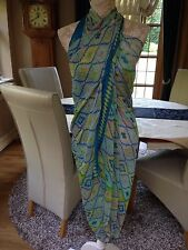 DESIGNER LARGE TURQUOISE MULTI WAY LONG PAREO SARONG BEACH WRAP COVER UP NEW