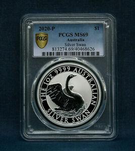 2020 AUSTRALIAN SILVER SWAN  PCGS MS69 - GOLD SHIELD