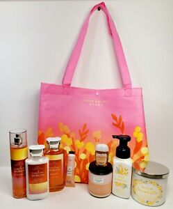 Bath and Body Works Body Tote Bag With Body Care-Home Fragrance Items. 9 Pieces.