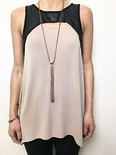 WITCHERY black leather look detail nude swing tunic top sleeveless sz med stretc