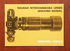 Pentax Takumar Interchangeable Lenses Instruction Book/164290