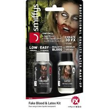 (23,30 Eur/100 ML) Zombie Schminkset With Liquid Latex And Fake Blood 30ml