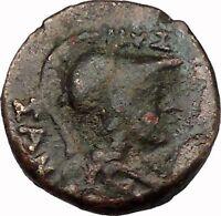 LARISSA Thessaly THESSALIAN LEAGUE 196BC Athena HORSE Ancient Greek Coin i43409