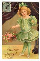 CPA Fantaisie Bonne année Fillette en robe verte