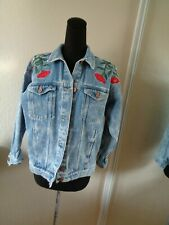 Monki Denim Jacket Embroidered Flowers And Bee Size Xxs
